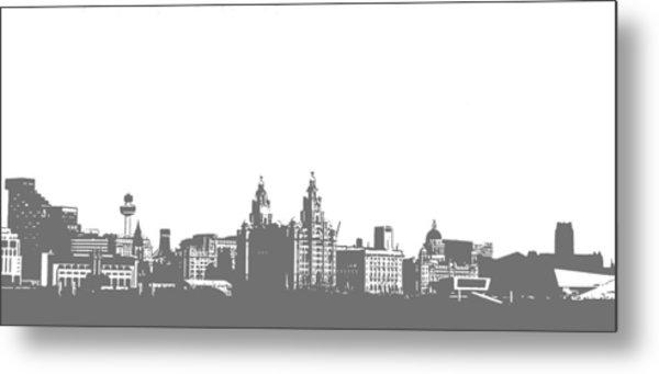 Liverpool Waterfront Pop-art Metal Print