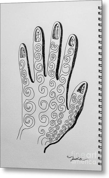 Lives Between The Fingertips Metal Print