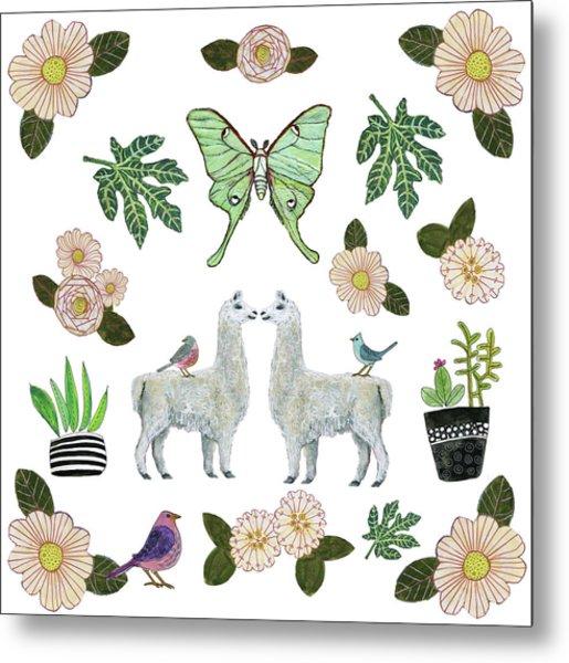 Llama And Luna Moth Pattern Metal Print