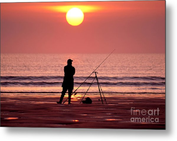 Llangennith Fishing At Sundown Metal Print