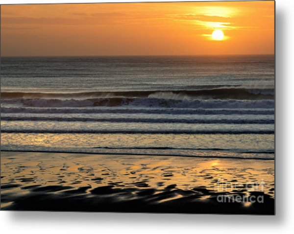 Llangennith Gold Reflections Metal Print