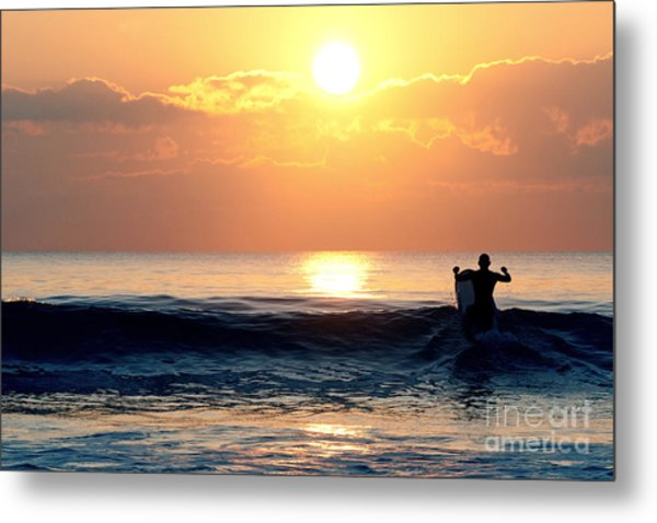 Llangennith Last Wave Metal Print