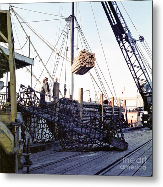 Metal Print featuring the photograph Loading Logs At The Port Of Olympia 1966 by Ron Allen
