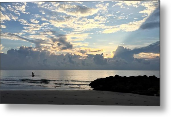 Lone Fishing Metal Print