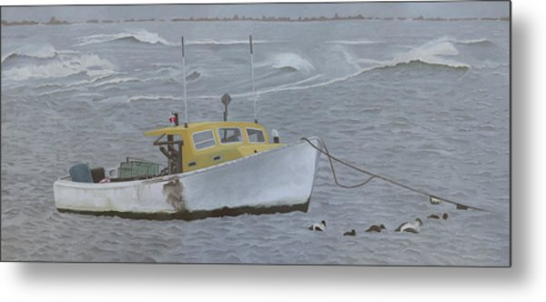 Lobster Boat In Kettle Cove Metal Print
