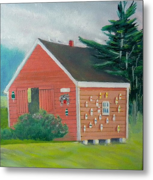 Lobster Buoy Shack Metal Print