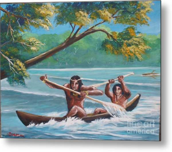Locals Rowing In The Amazon River Metal Print