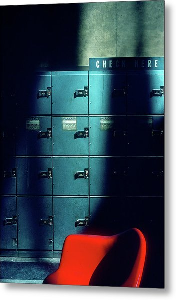 Lockers And Red Chair Metal Print