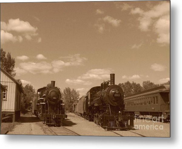Locomotives In Sepia Metal Print by Charles Robinson