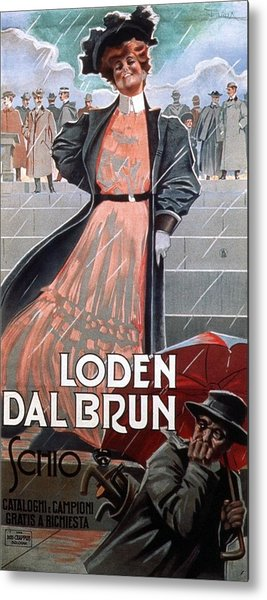 Loden Dal Brun Schio - Woman In Pink Dress - Vintage Advertising Poster Metal Print