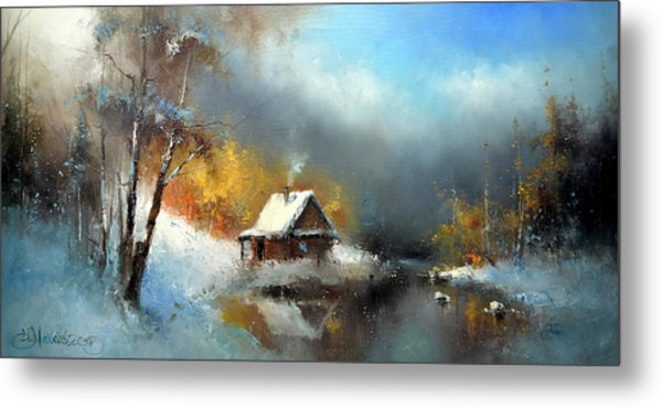 Lodge In The Winter Forest Metal Print