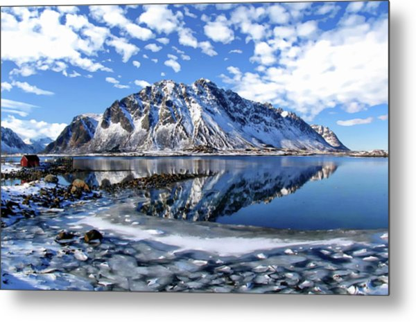 Lofoten Winter Scene Metal Print