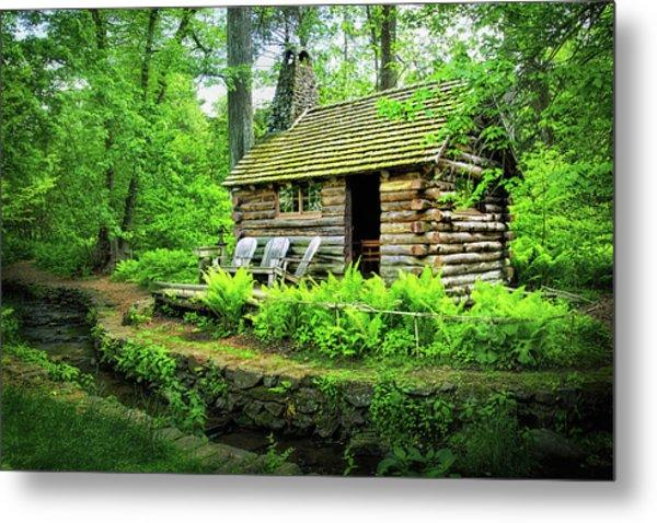 Log Cabin At Morris Arboretum Metal Print