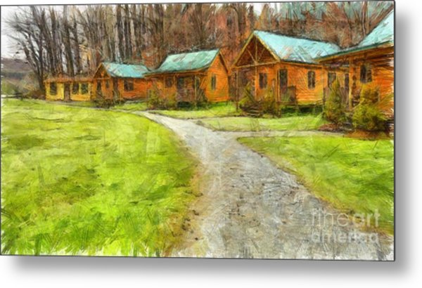 Log Cabins Pencil Metal Print