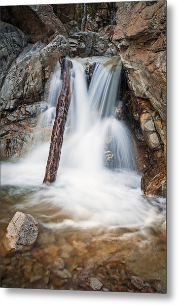 Log In The Waterfall Metal Print