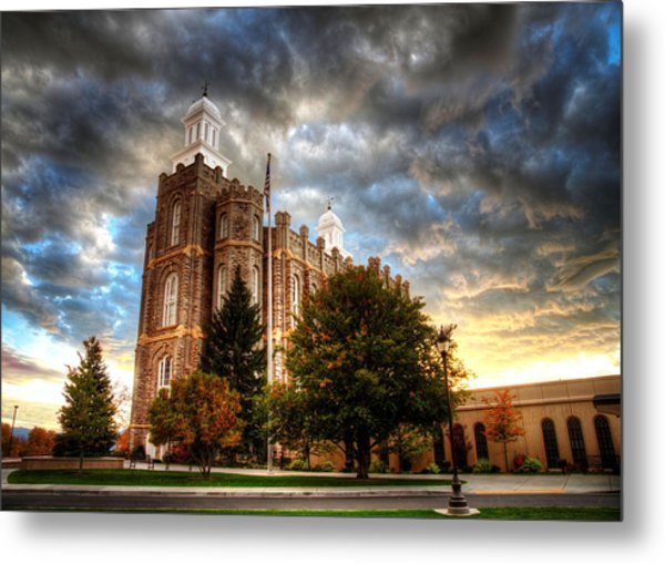 Logan Temple Cloud Backdrop Metal Print