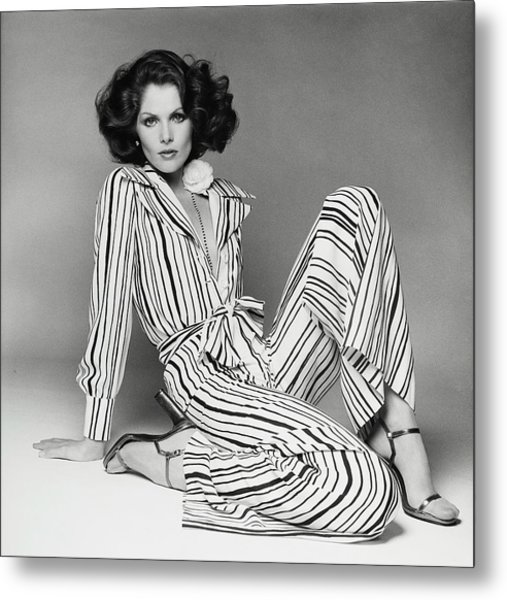 Lois Chiles Wearing A Striped Pajama And Blouse Metal Print by Francesco Scavullo