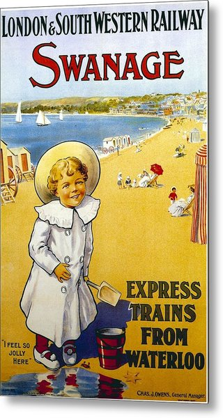 London And South Western Railway - Swanage, England - Retro Travel Poster - Vintage Poster Metal Print