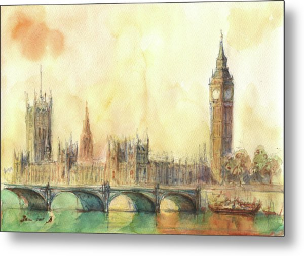 London Big Ben And Thames River Metal Print