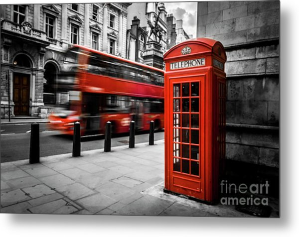 London Bus And Telephone Box In Red Metal Print