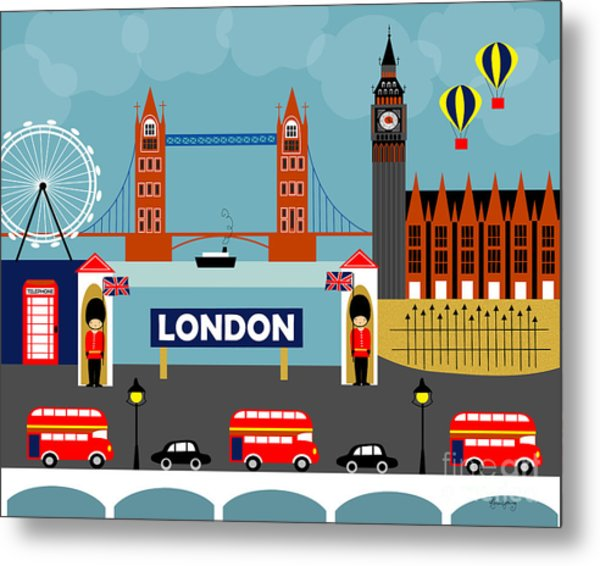 London England Horizontal Scene - Collage Metal Print