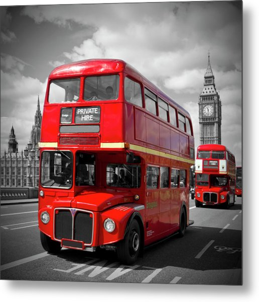 London Red Buses On Westminster Bridge Metal Print