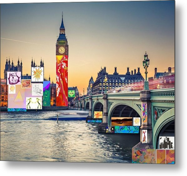 London Skyline Collage 3 Inc Big Ben, Westminster  Metal Print