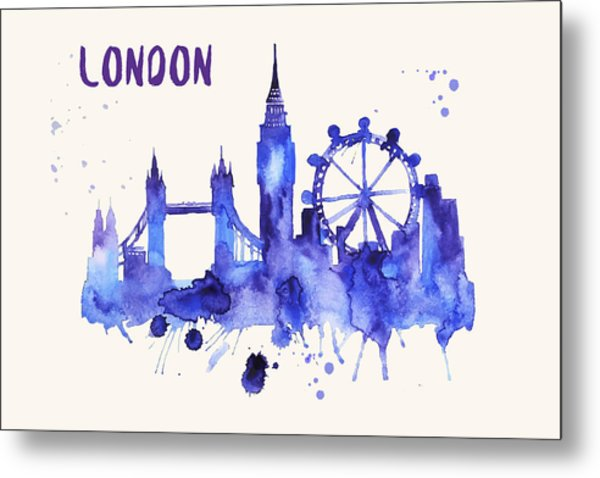 London Skyline Watercolor Poster - Cityscape Painting Artwork Metal Print