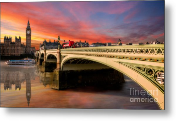 Metal Print featuring the photograph London Sunset by Adrian Evans