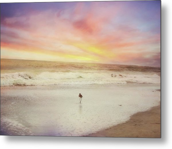 Lone Bird At Sunset Metal Print