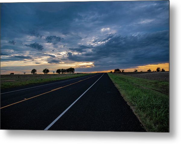 Lone Highway At Sunset Metal Print