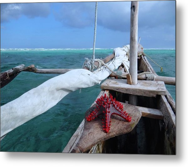 Lone Red Starfish On A Wooden Dhow 1 Metal Print