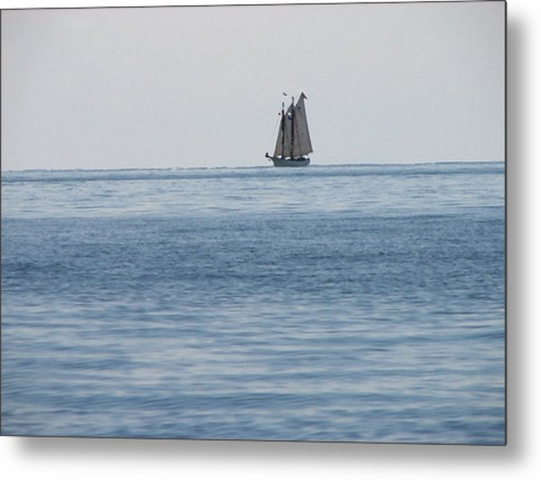 Lone Ship At Sea Metal Print by Ginger Howland