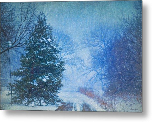 Lone Snowy Lane Metal Print