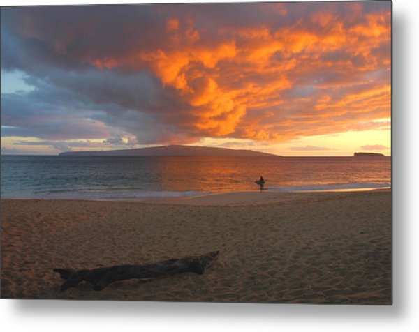 Lone Surfer At Sunset Metal Print by Stephen  Vecchiotti