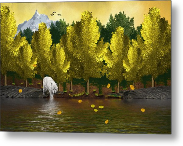 Lone Wolf At The River Metal Print