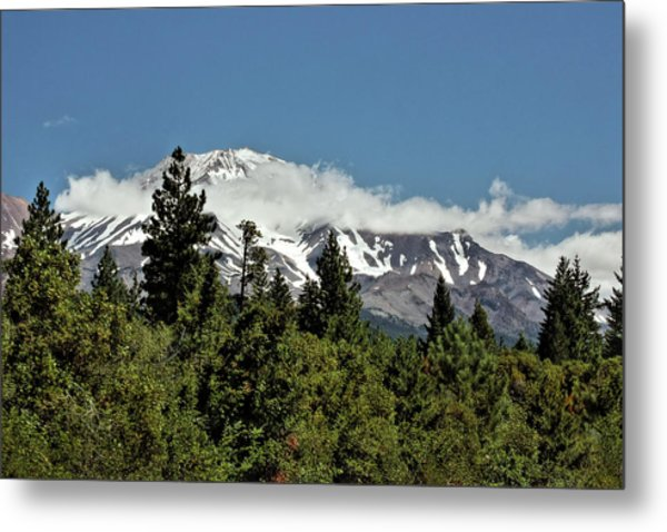 Lonely As God And White As A Winter Moon - Mount Shasta California Metal Print