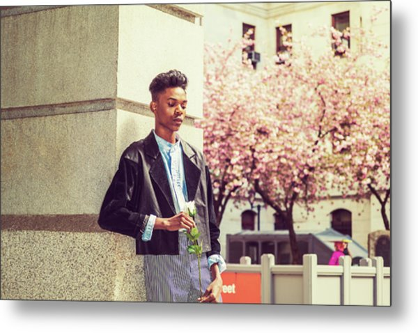Metal Print featuring the photograph Lonely Boy With White Rose 15042643 by Alexander Image