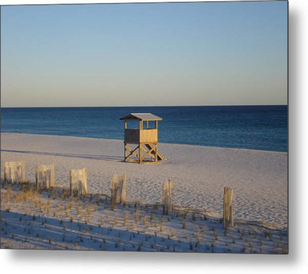 Lonely Lifeguard Metal Print by Navarre Photos