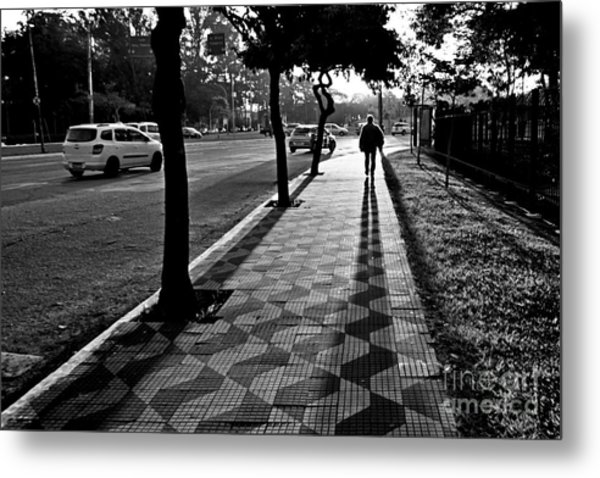 Lonely Man Walking At Dusk In Sao Paulo Metal Print