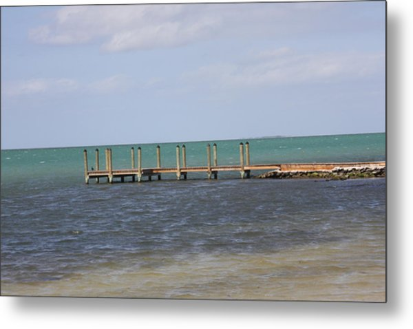 Lonely Pier Metal Print by Bonnes Eyes Fine Art Photography