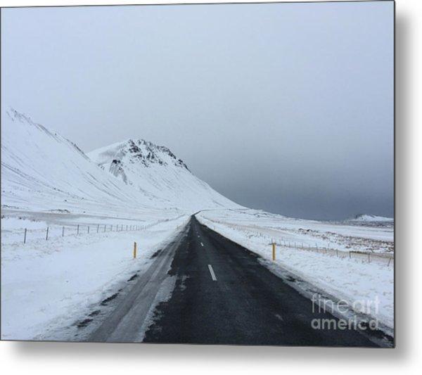 Lonely Road On Snaefellsnes Peninsula Metal Print