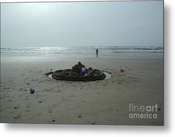 Lonely Sandcastle Metal Print