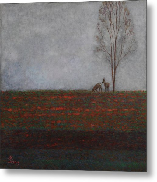 Lonely Tree With Two Roes Metal Print