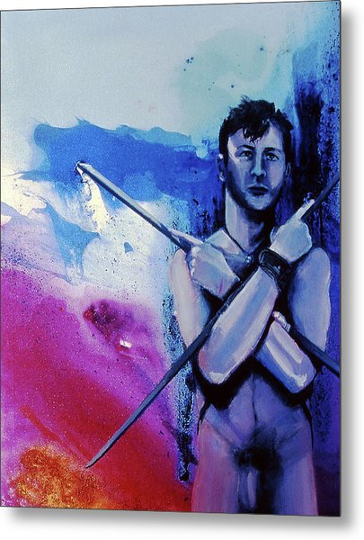 Metal Print featuring the painting Lonely Warrior  by Rene Capone