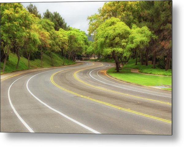 Metal Print featuring the photograph Long And Winding Road by Alison Frank