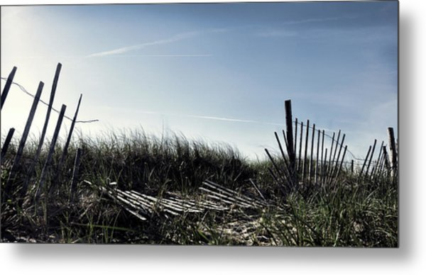Long Beach Fence Metal Print