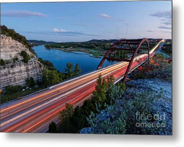 Long Exposure View Of Pennybacker Bridge Over Lake Austin At Twilight - Austin Texas Hill Country Metal Print