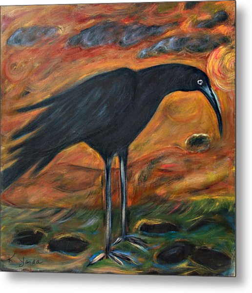 Long Legged Crow Metal Print
