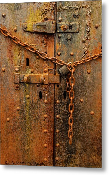 Metal Print featuring the photograph Long Locked Iron Door by Jim Adams